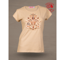 Szervető-jazygia U-neck T-shirt - beige & brown