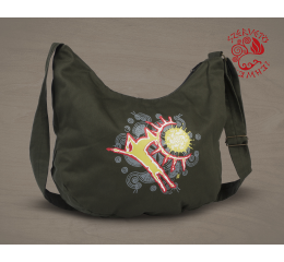 Wonder stag painted half moon bag - green