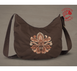 Lifetree-palmette half moon bag - brown