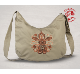 Lifetree-palmette half moon bag - beige