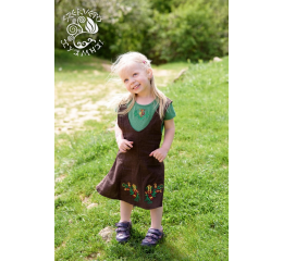 Szervető-jazygia girl's dress with T-shirt - green & brown