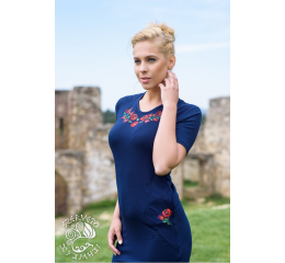 Szervető-matyó pocket dress - dark blue