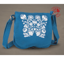 Szervető-kalocsai small bag - light blue & white