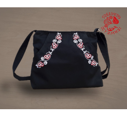 Szervető-buzsáki hearts multi pocket shoulder bag - black