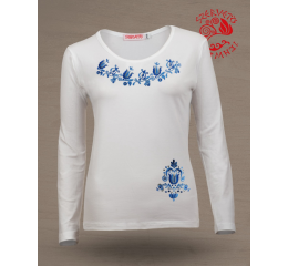 Szervető-jazygia tulip O-neck long sleeve T-shirt - white-blue