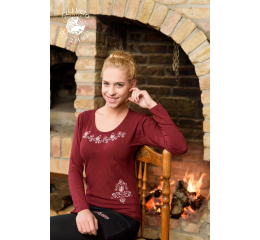 Szervető-jazygia tulip O-neck long sleeve T-shirt - claret
