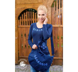 Szervető-jazygia tulip O-neck long sleeve T-shirt - blue