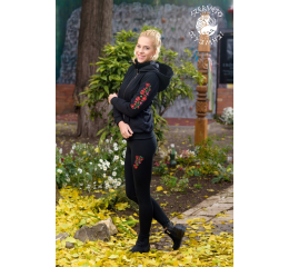 Szervető-matyó leggings - embroidered thigh - black