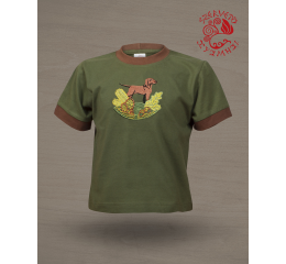 Hungarian pointer (standing) T-shirt - green & brown