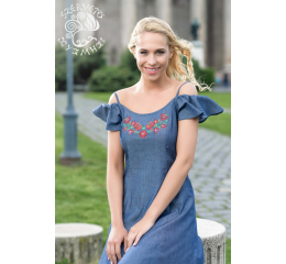 Tünde denim dress with Szervető-matyó pattern