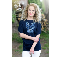 Szervető-jazygia bat sleeve blouse - with blue embroidery