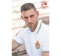Coat of arms of Hungary pique polo shirt - white-gold