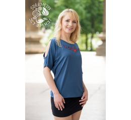 Szervető-palóc bat sleeve blouse Sleeve Cut Out Off Shoulder Top - blue