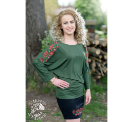 Szervető-matyó bat sleeve blouse - green
