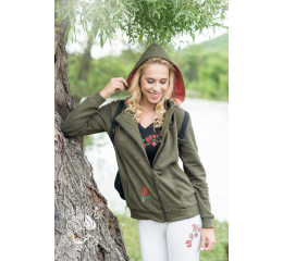 Szervető-matyó removable hooded thick sweater - green with asymmetrical zipper