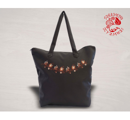Szervető-jazygia trapeze bag - brown with line pattern