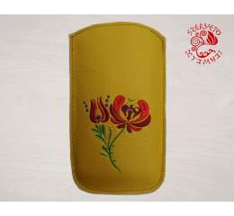 Szervető-matyó textile leather mobile case - yellow