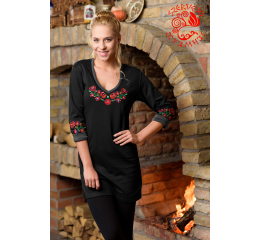 Szervető-matyó winter tunic - black