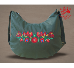 Szervető-matyó half moon bag - green with line pattern