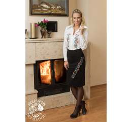Szervető-kalocsaii flat skirt - black-with black stripes