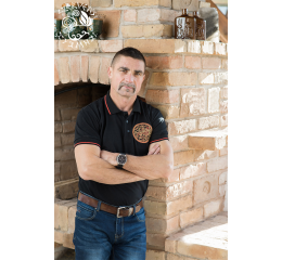'The lion of Esztergom' pique polo shirt - black