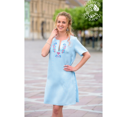 Csillag dress with Szervető-peacock embroidery - light blue