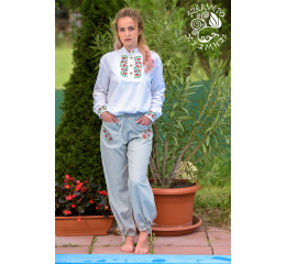 Szervető-tulip embroidery pants - gray