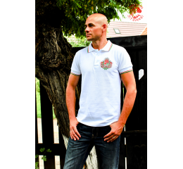 Coat of arms of Hungary pique polo shirt - white-silver