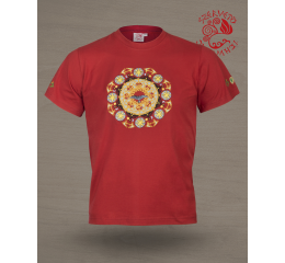 Solstice T-shirt - terracotta red & gold