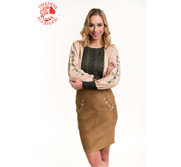 Etelka blouse with Szervető-jazygia tulip - beige-green