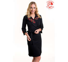 Anna dress with Szervető-matyó embroidery - black-color