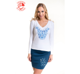 Szervető-jazygia V-neck long sleeve T-shirt - white & blue
