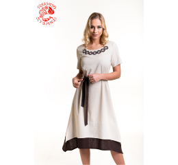 Réka dress with Szervető-endless pattern - beige-brown