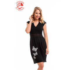 Villő dress with Szervető-laced butterfly embroidery - black