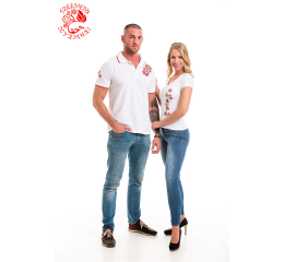 Szervető-matyó pique polo shirt - white