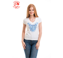 Szervető-jazygia V-neck T-shirt - white - blue