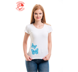 Szervető-laced butterfly O-neck T-shirt - white