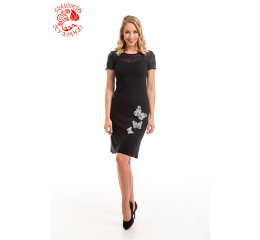 Adél dress with Szervető-laced butterfly embroidery - black