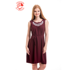 Szervető-laced tulip summer dress - claret