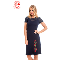 Adél dress with Szervető-matyó embroidery - navy blue