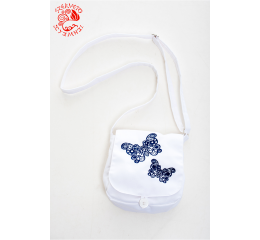 Szervető-laced butterfly small bag - white-navy blue