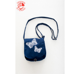 Szervető-laced butterfly small bag - navy blue