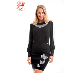Ilona blouse with Szervető-laced tulip - black-white