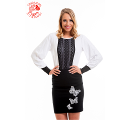 Katalin blouse with Szervető-jazygia tulip - white-black
