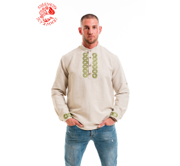 Endless braid archer shirt with antler buttons - beige-green