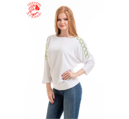 Szervető-endless braid bat sleeve blouse - white & green