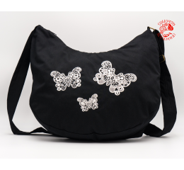 Szervető-laced butterfly half moon bag - black