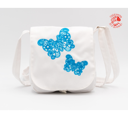 Szervető-laced butterfly small bag - white-turquoise