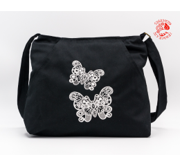 Szervető-laced butterfly multi pocket shoulder bag - black