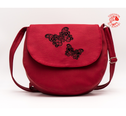 Szervető-laced butterfly horseshoe bag - claret